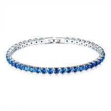 Ladies Elegant Royal Blue Round Lab Diamond White Gold Filled Tennis Bracelet
