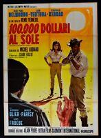Werbeplakat 100.000 Dollars Al Sonne Belmondo Ventura Melville Leinen Jean Paul