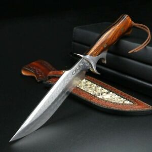 Handmade Drop Point Knife Fixed Blade Hunting Survival Tactical Damascus Steel S