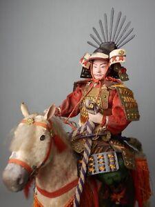 JAPANESE ANTIQUE MUSHA TAISHO NINGYO SAMURAI DOLL YOROI SWORD NAGINATAHOURSE