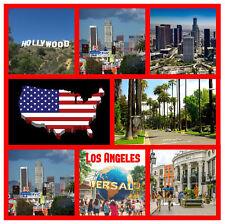 LOS ANGELES, USA - SOUVENIR NOVELTY BIG SQUARE FRIDGE MAGNET - SIGHTS / GIFTS