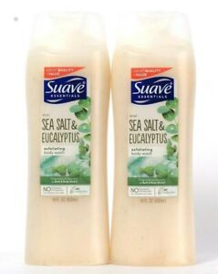 2 Bottles Suave Essentials 18 Oz Sea Salt & Eucalyptus Exfoliating Body Wash
