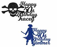 Pirate Personalised Glitter Cake Topper Any Name Word Birthday Party