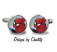 Spiderman Cufflinks Glass Novelty Silver Charms Superhero Forever Stamp Art