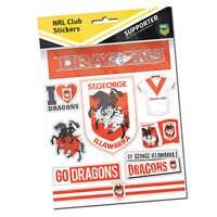 St George Dragons NRL LOGO Car Sticker Stickers Sheet Christmas Birthday Gift