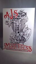 AJS Matchless engine display board. Rally sign. Workshop, Classic Motorcycle.