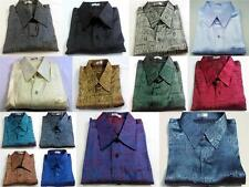 Mens Casual Thai Silk Shirts Jacquard Weave / Small - XXXL / SHORT & LONG Sleeve