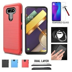 For AT&T LG Xpression Plus 3, Shock-Resistant Cover Case + Ring /Tempered Glass