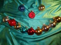 ~ 12 alte Christbaumkugeln Glas bunt Reflexkugel rot gold blau silber rosa CBS ~
