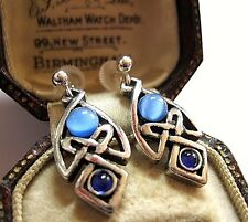 VINTAGE DESIGN MIRACLE JEWELLERY CELTIC LOVE KNOT BLUE GLASS DROP EARRINGS