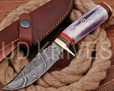 UD HANDMADE FIXED BLADE DAMASCUS ART HUNTER SKINNER KNIF CAMEL BONE HANDLE 10224