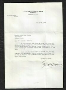 """1944 Dallas,TX - Republic National Bank """"Flying Cross and Air Medal"""" Letter"""