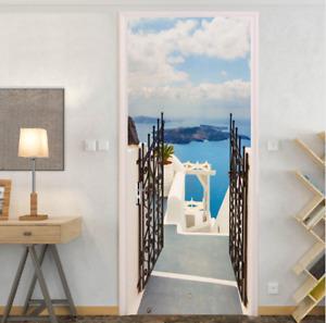 3D Ocean Courtyard Door Self-Adhesive Door Murals Sticker Wall Room Decal Poster
