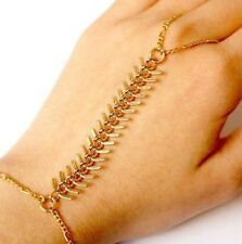 Rib Pattern Golden Bracelet Bangle Slave Chain Link Hand Harness Finger Ring