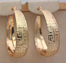 18K Gold Filled Earrings Geometry Retro Luxury Round Hoop Stud Party Women RE