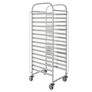 15 Levels Stainless Steel Catering Tray Rack Slot Shelving Racking Trolley
