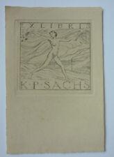 """Exlibris, Bookplate  """"K.P. Sachs"""" Jugendstil Erotik (2)"""