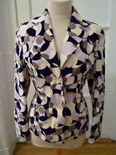 FERAUD Polk-A-Dot Mosaic pattern Jacket/ Blazer, Purple/White/Grey, Size 10
