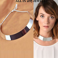 Punk Metallic Mirror Curved Wide Choker Gold Collar Silver Necklace Mottl. gift