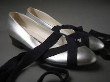GIANFRANCO FERRE Silver METALLIC Leather BALLET FLATS Pumps ITALY Women's 8 1/2
