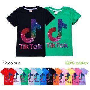 Kids Children 100% Cotton Tik Tok T-shirt Summer Short Sleeve Blouse Top Gifts