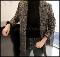 Womens Wool Blend Plaid Blazer Coat Korean Retro Mid Long Slim Fit Outwar Jacket