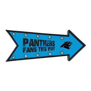 "Carolina Panthers Arrow Marquee Sign - Light Up - Room Bar Decor NEW 18"""