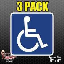 3 PACK Handicap Symbol Sticker Decal Car Window Vinyl Disabled Sign Wheelchair