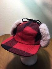 Filson Double Mackinaw Buffalo Plaid Wool Hat Cap Insulated M Shearling Flaps