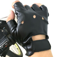 Men's Artificia Leather Gloves Half Finger Fingerless Stage Sports Cycling Black