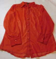 Simply Irresistible womens long sleeve button up Sheer Blouse Top Shirt S NWOT