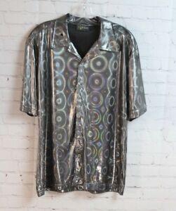 Du ~ Vtg POP ICON Shiny Silver Metallic Disco Club Party Button Up Shirt 70s