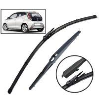 Front Rear Windscreen Wiper Blades For Peugeot 108 Toyota Aygo Citroen C1 14-