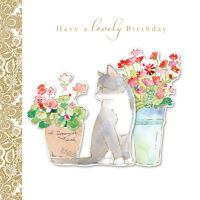 """Birthday Card Hand Finished """"Cat and Flowers Design"""" Size 6.25"""" x 6.25"""" MM0207"""