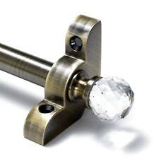 "Antique Brass Stair Rods - 1/2"" x 28.5"" - Premium Range - Crystal Finial"