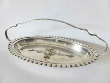 Antique Goldcraft Silver Plated Tray with Handle, Art Deco Rose Serving Dish
