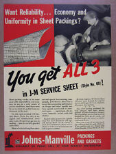 1937 Johns-Manville Asbestos Service Sheet Packing vintage print Ad