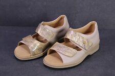 C1369 Goldkrone Damen Sandalen Leder beige Gr. 36 (3,5 M) Wechselfußbett