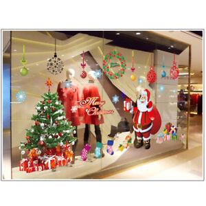 2pcs Merry Christmas Tree Wall Window Stickers Decals Xmas Window Shop Decor*