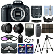 Canon EOS Rebel T7i / 800D Body+ 3 Lens Kit 18-55mm IS STM + 24GB + Flash & More