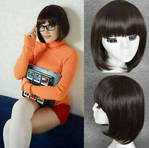 Velma Dinkley Dark Brown Cosplay Wig Bob Blunt Bangs Hair Short Full Wig