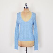 $98 Free People Anthropologie Deep Scoop Neck Cable Knit Sweater Jumper Top M L