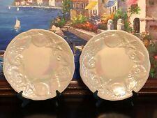 "2 Roscher & Co Nautilus Seashell Iridescent White Embossed Dinner Plates 11.25"""