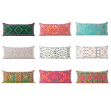 Colorful Embroidered Pillow Cover Case Bolster Cushion Long Lumbar Sofa Couch Th