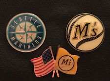 Set~Lot~3~MLB Seattle Mariners Collector Pins~Logo~Baseball~American flag~NOS