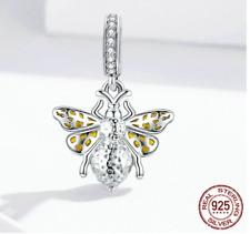 Detailreicher Schmuckanhänger für Ketten Biene Fliege Insekt Deko Charms Silber