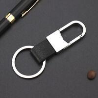 Men Creative Metal Leather Key Chain Ring Fob Keyfob Car Keychain Keyring Gift