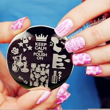 Nail art timbro immagine PIASTRE PIASTRA Decorazione KEEP CALM NAIL POLISH (jq-32)