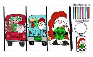 PERSONALISED Name Christmas Flip Leather Wallet Case iPhone Samsung + Keyring