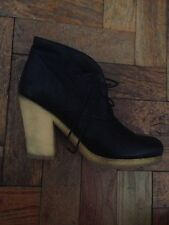 Prada sport Black Leather Crepe Sole Booties Boots Size 39 Uk 6 Mary Kate Olsen